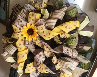 Large Brown, Yellow, and Burlap sunflower wreath