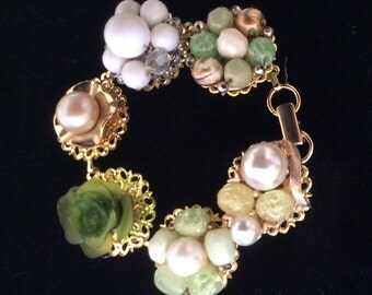 Bracelet Made From Vintage Earrings in Pale Greens and Gold