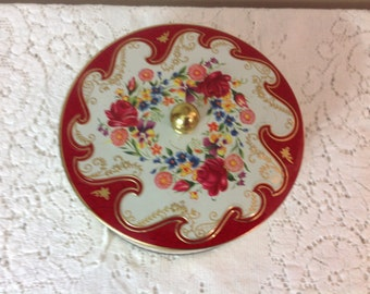 Tin By Daher Made in England Round Tin  With Lid Vintage Red Floral Tin
