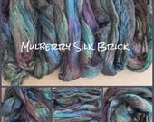 Hand Dyed A1 Silk Brick, Mulberry Silk Fibres, Silk Roving, Spinning, Nuno Felting, Creative Embroidery, Colour No.53 Spruce