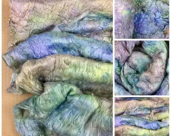 Hand Dyed Mulberry Silk Laps, No.85 Dried Hydrangea, Spinning Fibres, Feltmaking, Silk Fusion