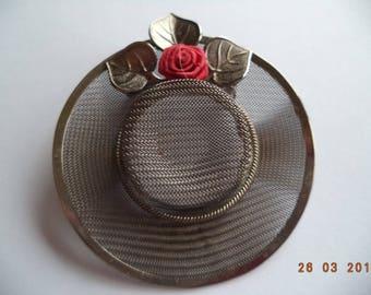 Fabulous Unsigned Vintage Dark Silvertone  Mesh Easter Bonnet Brooch/Pin