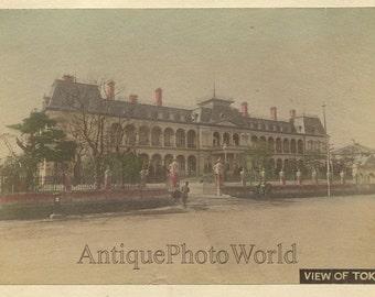 Tokyo street view palace antique hand tinted albumen photo Japan