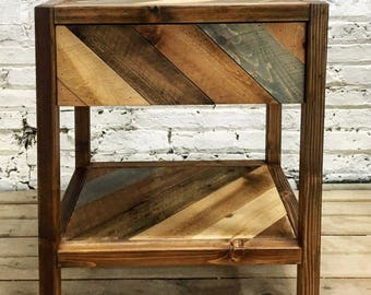 Rustic Chevron Solid Barn Wood Bedside Table / End Table - Handmade In USA