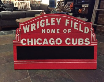 Chicago Cubs World Series Wooden Wrigley Marquee sign with chalkboard. 34'' x 20-1/2''