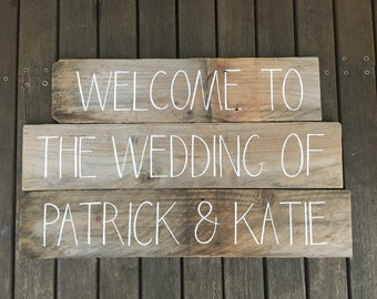 Rustic Timber Sign For Wedding 'Welcome To The Wedding Of Your Names'