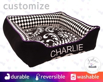 Black and White Dog Bed or Cat Bed | Striking Dog Bed with Purple Accent | Harlequin, Paisley, Chevron | Flippable, Washable & High Quality