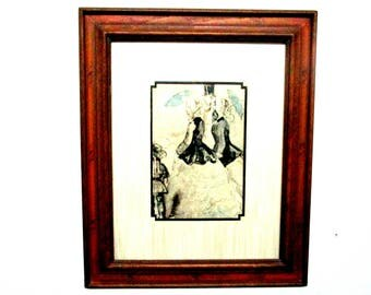 Victorian Etching, Watercolor, Victorian Ladies and Gentleman with Umbrella, Matted and Framed, Victorian Decor