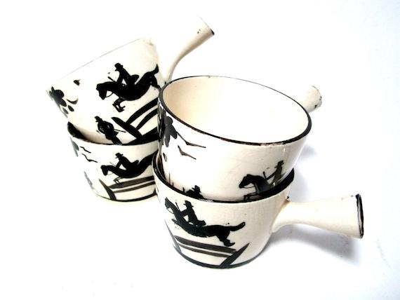 Vintage Saki Cups, Tea Cups, Set of 4, Horse Jumping, Steeplechase, Black Cream Saki Cups, Tea Cups, Trumpet Handles, Rare Old Japan