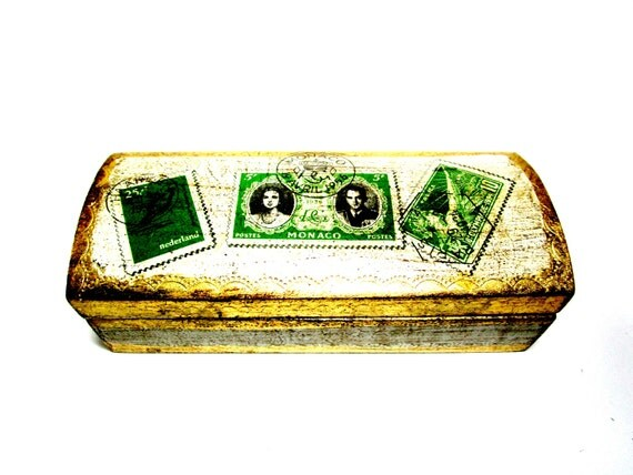 Vintage Stamp Box, Florentine Stamp Box, Postage Stamp Box, Gold Gilt Wood Stamp Box, Made in Italy, Housewarming Gift, Old World Decor