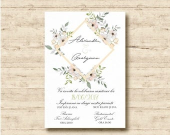 Modern Floral Wedding Invitations.  Also as Printable Invitations
