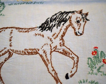 Linen Table Runner, Dresser Scarf, Embroidered Horses With Lace Edge