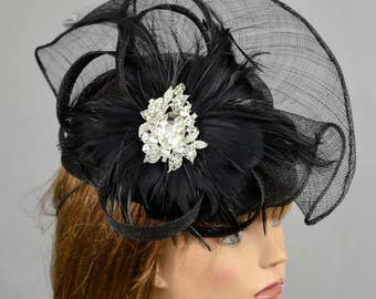 Black Sinamay Straw Woman Hat Kentucky Derby Hat Bridal Coctail Hat Couture Bridal Hat Party