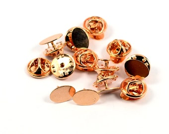 50 Pcs. Rose Gold 7x12 mm Oval Glue Pad Tie Tack Blanks Findings
