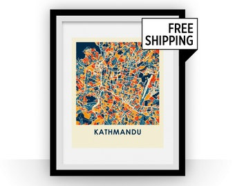 Kathmandu Map Print - Full Color Map Poster
