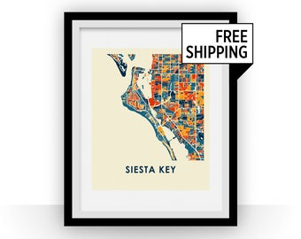 Siesta Key Map Print - Full Color Map Poster