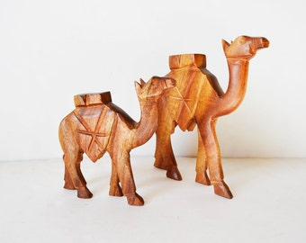 Two wooden camels
