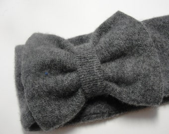 Upcycled Dark Gray Cashmere Earwarmer Headband with Bow