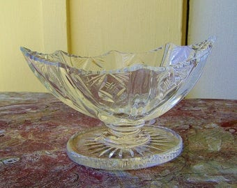 Antique Salt Cellar Georgian Lead Cut Crystal Footed Dip Bowl ca 1800