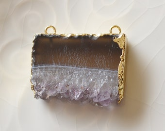 Amethyst Slice Pendant, 18K Gold Edged Amethyst Druzy, Double Bail Connector,