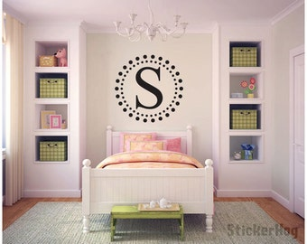 Custom Dotted Circles Initial Name Monogram #4 Girls Nursery Bedroom Vinyl Wall Decal Graphics Home Decor