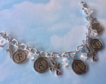 FAITH Charm Bracelet, Cross Charm Bracelet, Religious Charm Bracelet, Religious Jewelry, Ladies Bracelet, Gift, Inspirational Charm Bracelet