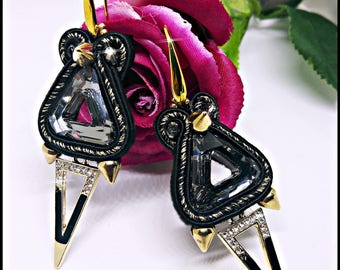 Earrings Black Spike