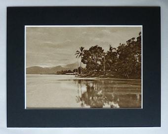 1920s Antique Brazilian Print of Bertioga, Available Framed, Brazil Art, São Paulo Gift, Old Baixada Santista Decor, Itapanhaú River Picture