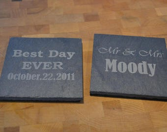 Slate Wedding Coasters - Best Day Ever - Mr and Mrs - Personalized Bridal Gift - Wedding Favors - Set of 4