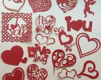 Assorted Handmade Valentine/Heart Die Cuts