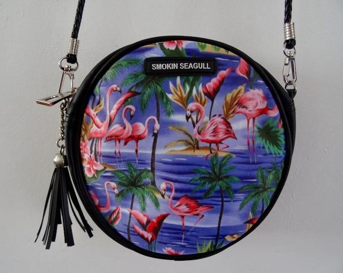 Blue Flamingo Round Handbag - Tropical Hibiscus Palm Tree Island Clutch Summer Holiday Bag