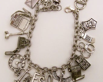 Law Charm Bracelet, Lawyer, Love the Law, Justice for All, In the Courtroom, Law is my Game, Here comes the Judge, Law Jewelry