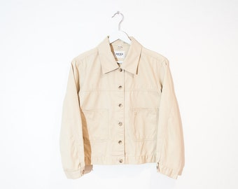 light beige cropped jacket / button-up lightweight jacket / size M / L