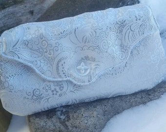White Damask Clutch, Formal Clutch, Bridal Clutch