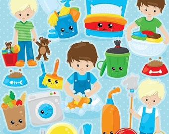 80% OFF SALE Chore clipart commercial use, chore chart vector graphics, boys digital clip art, digital images  - Cl1032