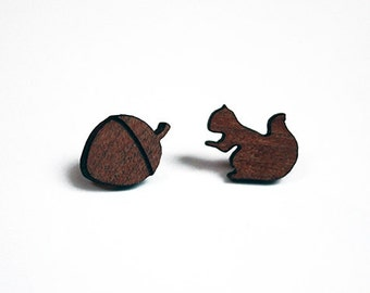 Squirrel and acorn studs, squirrel earrings, acorn earrings, lasercut wood studs, lasercut wood earrings, assymetrical earrings, mothers day