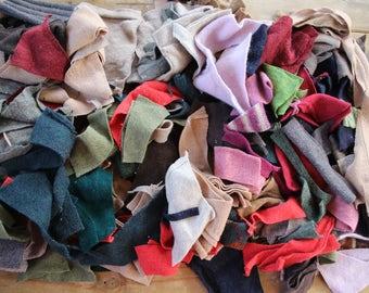 Wool Off Cuts, Scraps. Craft Supplies. Proggy Matting. Wool pieces. Recycled Knitwear. Brown, Rust, Green. Sewing. Fiber Fibre Craft.