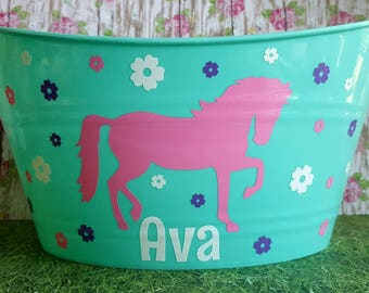 Personalized Basket, Oval Easter Tub with A Horse, Great for Small Toy Storage, Birthday Parties