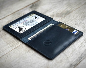 Mens Wallet, Front Pocket Wallet, Leather Slim Wallet, Blue Leather, Personalized Wallet (if needed)