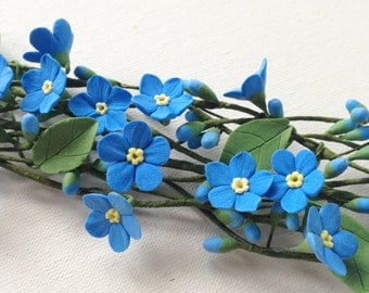 Blue forget-me-not  hair wreath. Wedding flower bridal hair accessory. Headpiece flower for hair.