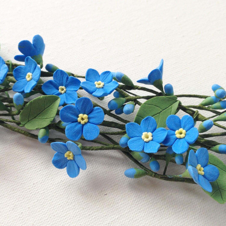 Blue forget me not hair wreath wedding flower bridal hair zoom dhlflorist Gallery