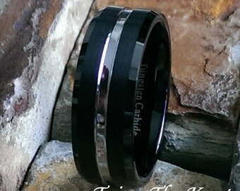 8mm Mens Black Tungsten Carbide - Satin Finish w/Silver Tone Center Comfort Fit Personalized Mans Wedding Ring Band - AZ37
