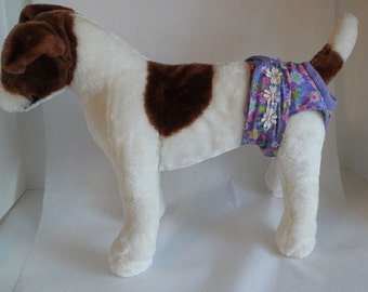 Dog Panties - Dog Clothes - Custom Dog Diaper -  Purple Floral  - Doggie Diapers - Dog Britches - Small Dog Harness - Female Dog Pantie