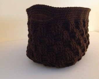 Crochet Basket Woven Look - Chocolate Brown