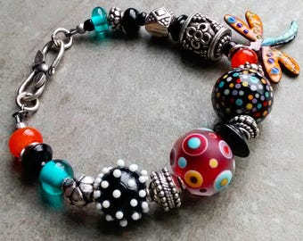 RESERVED SOLD to Carol! modern art gallery, Artisan handmade bracelet, funky polka-dotty lampwork beads, Bali Sterling silver unique jewelry