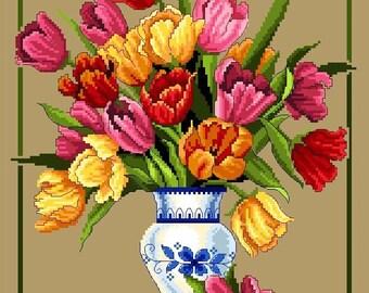 Colorful Summer Tulips -Cross Stitch PDF Pattern