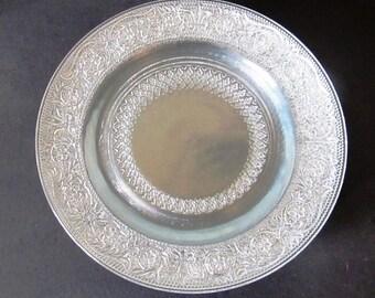 "Four KIG Malaysia Pressed Glass 7"" Plates, Fleur de Lis Pattern"