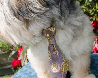 Purple n Gold Dog Neck Tie - Pet Neck Tie for Wedding  - Size Small  - Adjustable Legnth  -  Pet Photo Prop - Over Collar Neck Tie