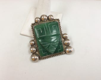 Vintage Mexico Sterling Silver  And Large Carved Green Onyx Mask Brooch/Pin