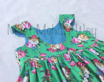READY-TO-SHIP -- Green Floral Girls Dress -- Size 5 -- Girls Scoop Back Dress